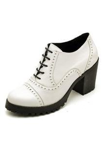 Ankle Boot Feminino Branco Tratorado Em Couro 19000