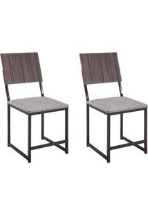 Conjunto De Mesa Com 4 Cadeiras Isabela Móveis Brastubo Amendoa/Ameixa Negra/Linho Marrom