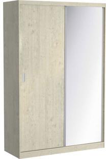 Guarda Roupa 02 Portas De Correr C/ 1 Espelho 813E1 Marfim Areia M Foscarini