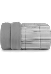 Edredom Casal Altenburg Malha In Cotton 100% Algodão Trix - Cinza Cinza
