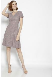 Vestido Com Recortes- Vermelho & Marrom- Cotton Colocotton Colors Extra