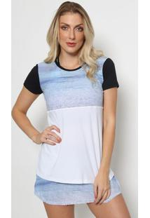 Camiseta Abstrata Com Recortes- Azul Claro & Branca-Daniela Tombini