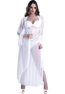 Robe Lã¡Mour Longo Yasmin Lingerie Manga Comprida Branco - Branco - Feminino - Dafiti