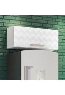 Armário Aéreo Cozinha 80 Cm Loá 1 Porta Basculante Branco Uv/ Branco Tridimensional - Nicioli