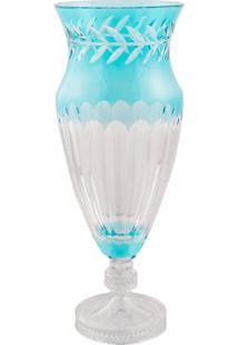 Vaso Decorativo De Cristal Lodz Azul Atenas