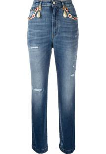 Dolce & Gabbana Calça Jeans Cropped Cintura Alta - Azul