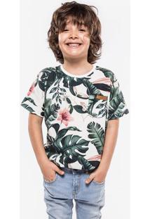 Camiseta Floral Branca Niños 500013