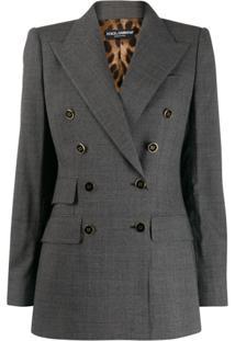 Dolce & Gabbana Checked Double-Breasted Blazer - Cinza