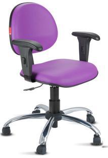Cadeira Escritório Lilás Cromada Com Braços