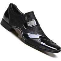 205c1461a2 Sapato Social Masculino Calvest Em Couro Vigo E Detalhes Verniz - Masculino- Preto