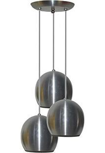 Pendente Colorido (Bolinha) - 03 Pendentes Juntos Na Mesma Canopla - Aluminio Escovado
