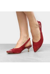 dec69a12fb ... Scarpin Couro Usaflex Salto Baixo Chanel - Feminino
