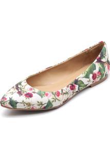 Sapatilha Feminina Bico Fino Top Franca Shoes Floral Floresta