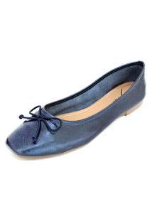 Sapatilha Couro Dali Shoes Bailarina Azul
