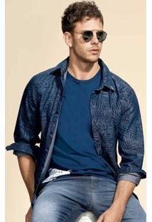 Camisa Jeans Masculina Manga Longa Estampada