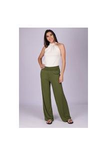 Calça Pantalona Reta Malha Cós Alto Verde Oliva