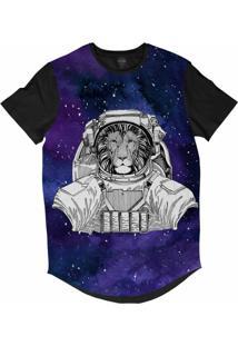Camiseta Longline Insane 10 Animal Astronauta Leão No Espaço Sublimada Cinza