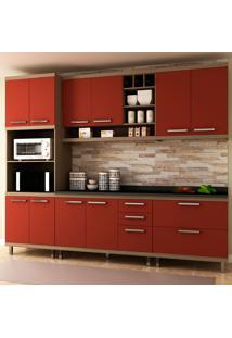 Cozinha Completa New Vitoria 17 Avelã Tx/Rubi - Hecol