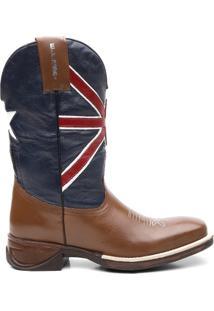 Bota Texana Bandeira Da Inglaterra - Masculino-Marrom+Marinho