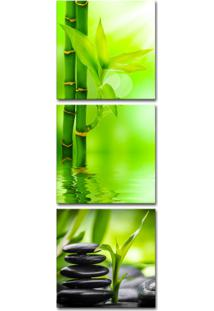 Quadro 150X50Cm Bambu Verde Pedras Pretas Decorativo Zen Canavs