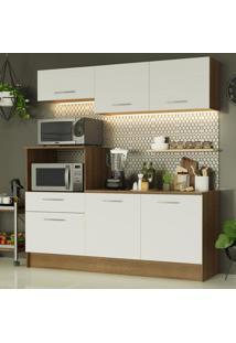 Cozinha Compacta Madesa Onix 180001 Com Armã¡Rio E Balcã£O - Rustic/Branco Marrom - Marrom - Dafiti