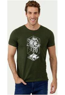 Camiseta Masculina Estampa Frontal Manga Curta Rock & Soda