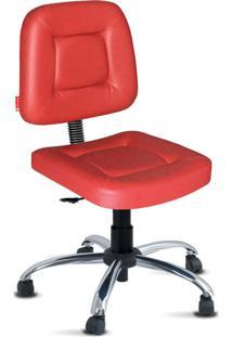 Cadeira Escritória Vermelha Giratória Cromada
