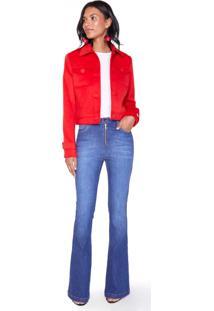 Calça Jeans Super Flare Zíper