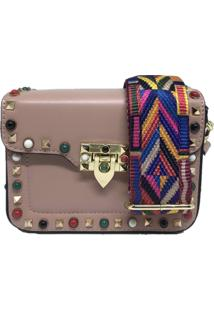 Bolsa Casual Transversal Alça Colorida Sys Fashion 831617 Rosa