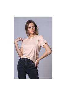 Blusa T-Shirt Starbox Decote U Básica - Nude
