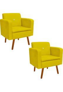Kit 02 Poltrona Decorativa Emília Suede Amarelo Com Strass - D'Rossi
