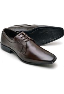 Sapato Social Couro Soft Bico Fino Reta Oposta Masculino - Masculino-Marrom
