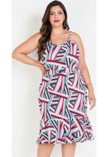 Vestido De Alças E Babado Plus Size Geométrico
