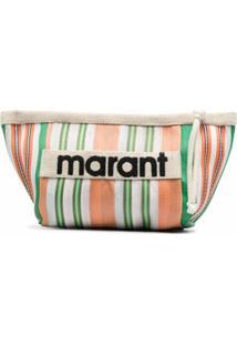 Isabel Marant Clutch Com Listras E Logo - Laranja