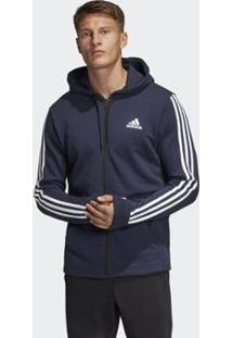 Blusa Adidas Capuz French Terry Must Haves Três Listras Masculina - Masculino-Azul
