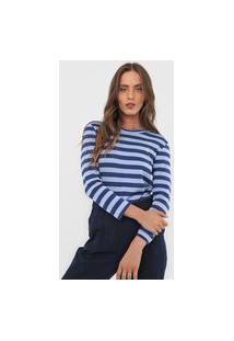 Blusa Polo Ralph Lauren Listrada Bordado Azul/Azul-Marinho