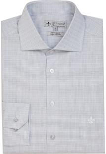 Camisa Dudalina Manga Longa Tricoline Fio Tinto Maquinetado Xadrez Masculina (Roxo Claro, 43)