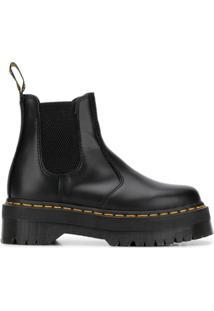 Dr. Martens Ankle Boot Com Pesponto Contrastante - Preto
