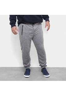 Calça Moletom Jogger Delkor Plus Size Masculina - Masculino-Cinza