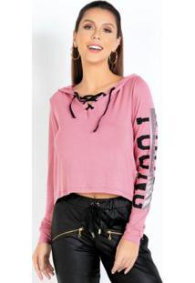 Blusa Rosa Com Capuz E Detalhe Em Ilhós