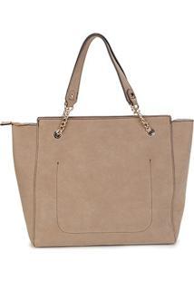 Bolsa Couro Colcci Tote Shopper Leather Styler Feminina - Feminino-Nude