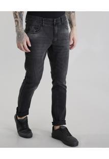 Calça Jeans Slim Em Algodão + Sustentável Preta