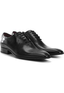 Sapato Social Couro Jorge Bischoff Bico Brogue - Masculino-Preto