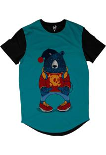 Camiseta Longline Long Beach Urso Gorro Sublimada Azul