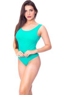 Body Moda Vicio Regata Com Bojo Decote Costas Com Elástico Verde Escuro