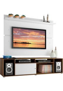 Rack Madesa Cancun E Painel Para Tv Atã© 65 Polegadas - Rustic/Branco/Branco Marrom - Marrom - Dafiti