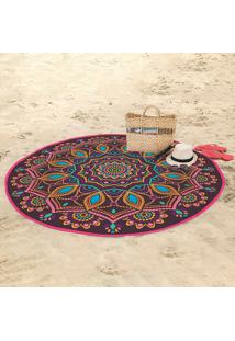 Toalha De Praia Redonda Aveludada Lepper Mandala 155Cm Pink