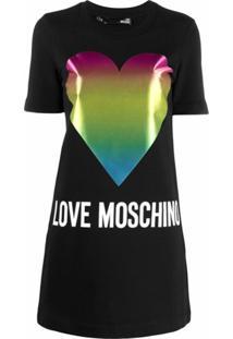 Love Moschino Vestido Mangas Curtas Com Estampa De Logo - Preto