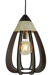 Luminária Pendente Gota De Madeira Crie Casa Marrom