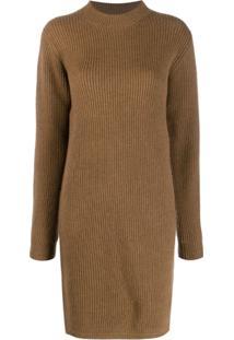 Acne Studios Ribbed Knit Dress - Marrom